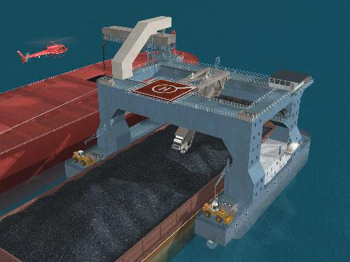 3D rendering of CTV transshipping material from barge to ship